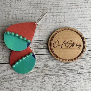 Geometric Green Earrings - On A String