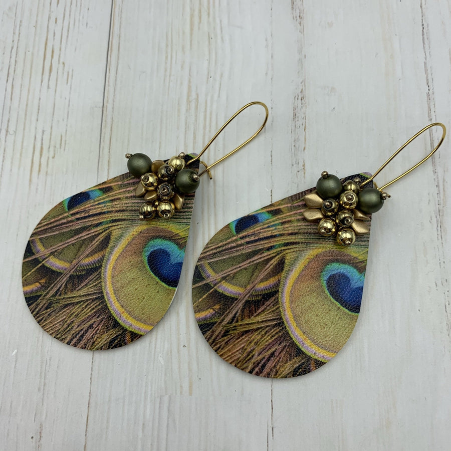 Golden Peacock Earrings - On A String
