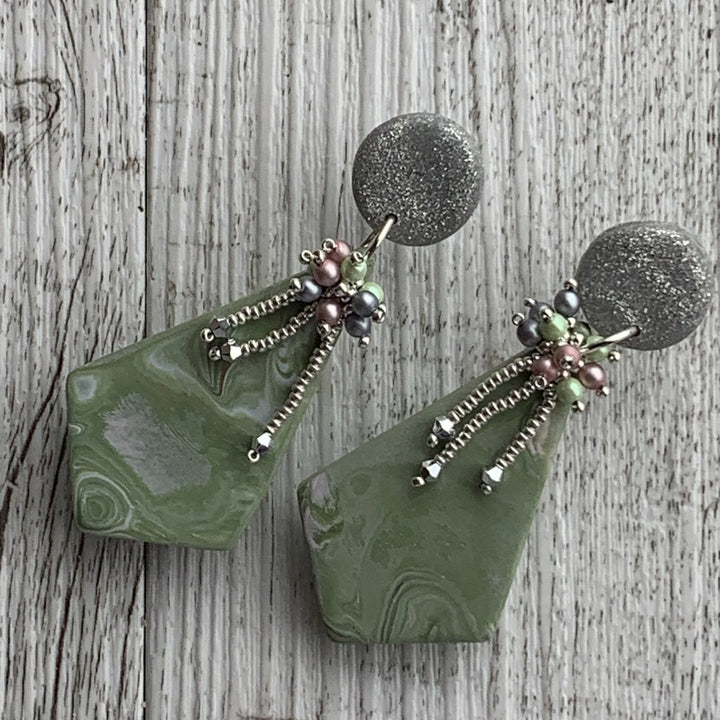 Green Diamond Beaded Polymer Clay Earrings - On A String