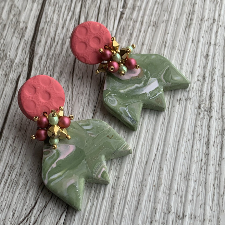Green Tulip Beaded Polymer Clay Earrings - On A String