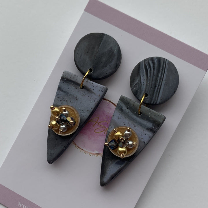 Grey Marbled Clay Earrings - On A String