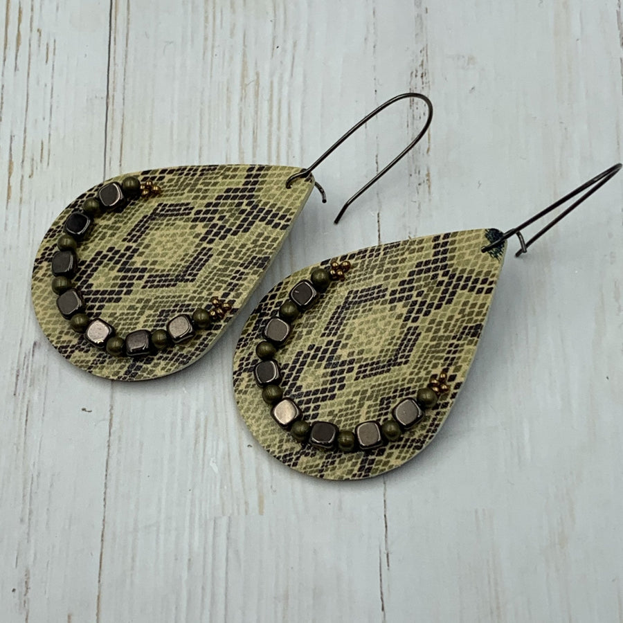 Khaki Snakeskin Earrings - On A String