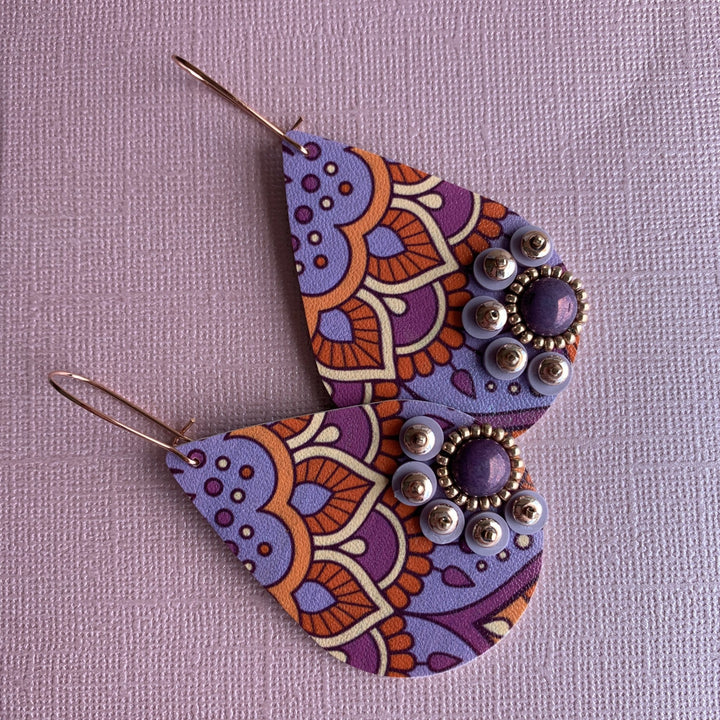 Lilac Mandala Earrings - On A String