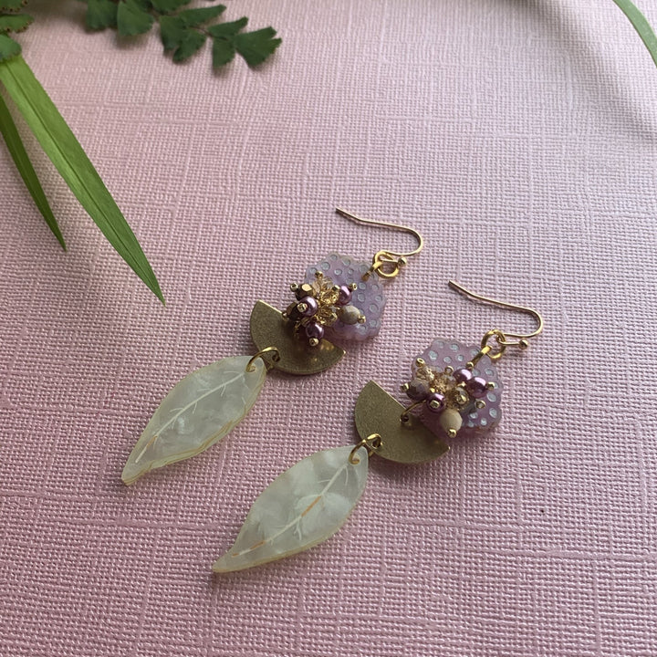 Mauve Gum Blossom Earrings - On A String