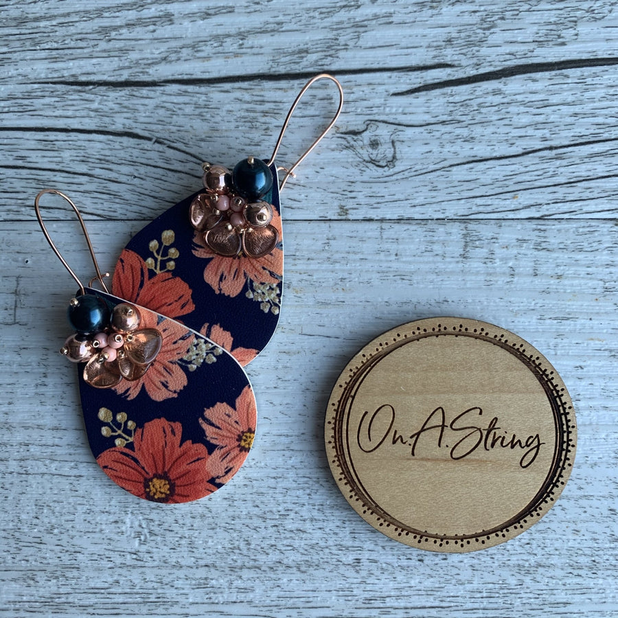 Navy and Coral Print Earrings - On A String