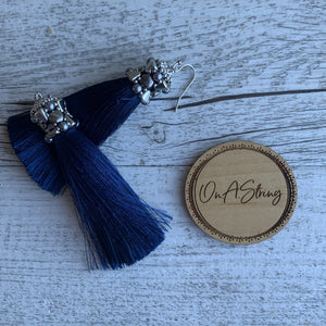 Navy Blue Tassel Earrings - On A String