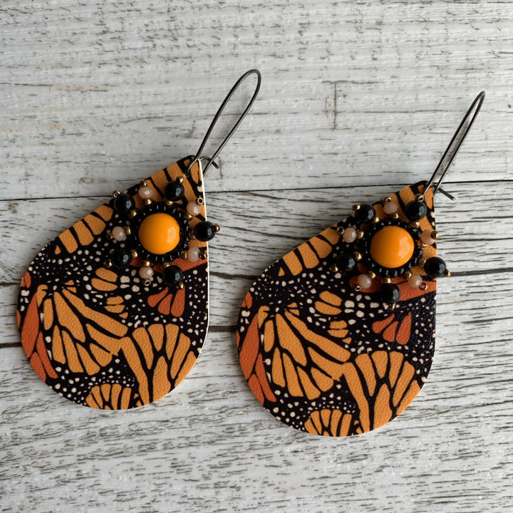 Orange Butterfly Earrings - On A String