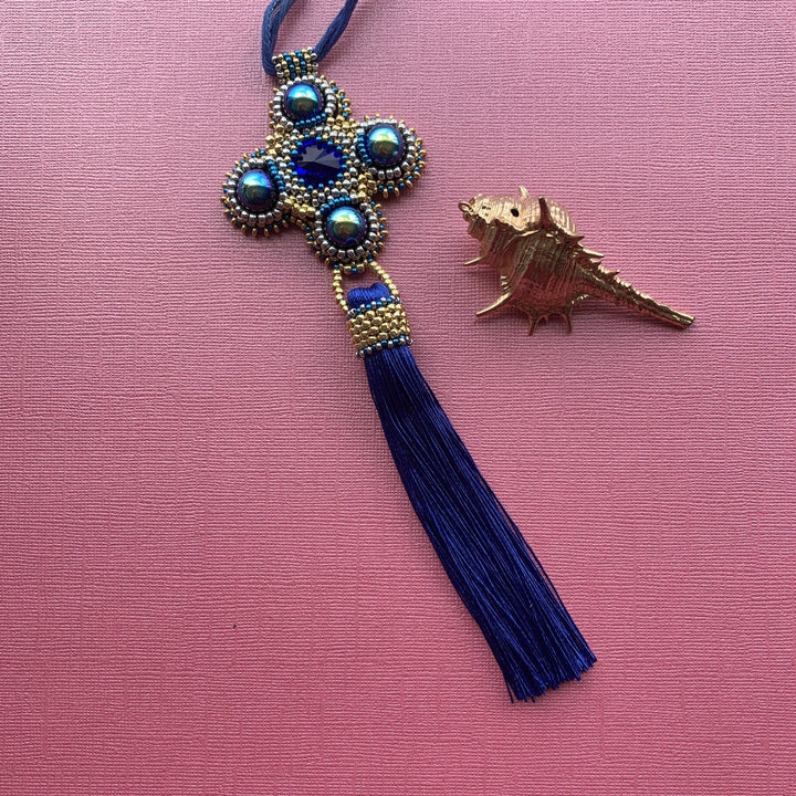 Peacock Blue Cross Pendant Necklace - On A String