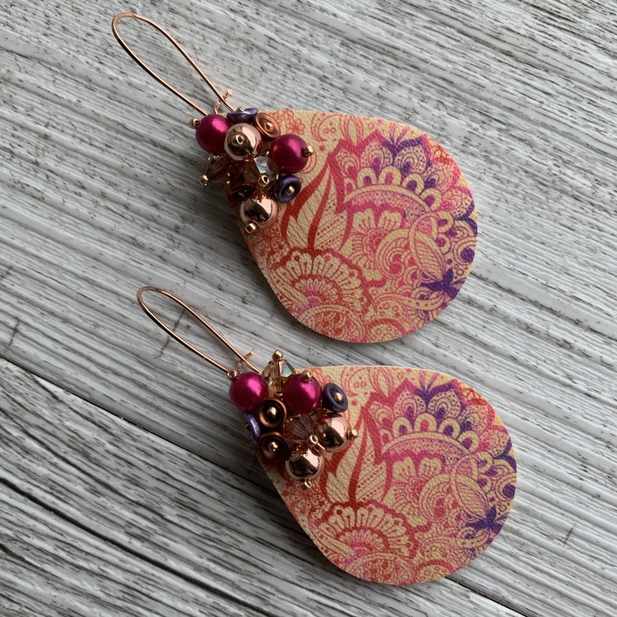 Pink Mandala Earrings - On A String