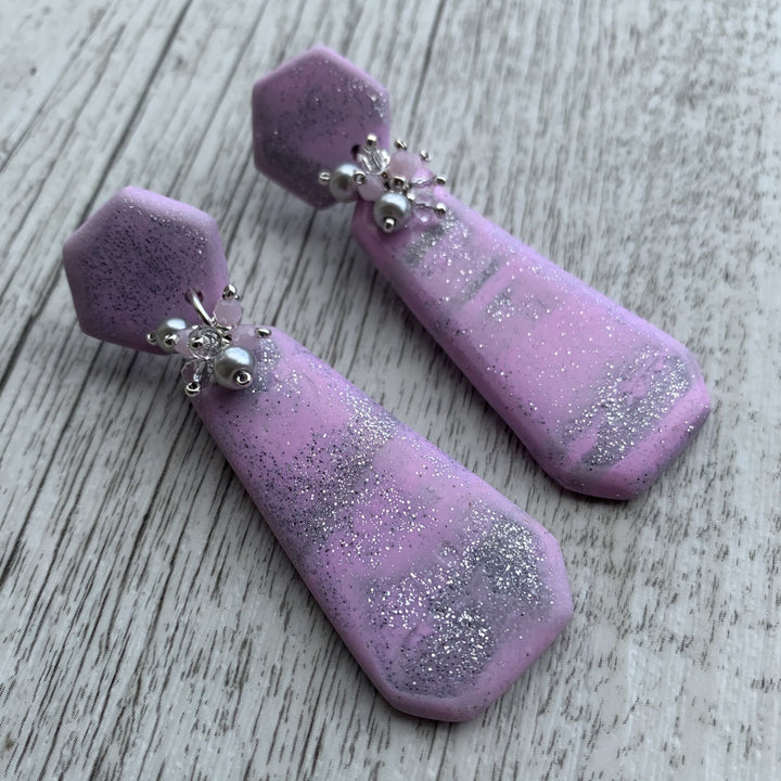 Pink & Silver Polymer Clay Beaded Earrings - On A String