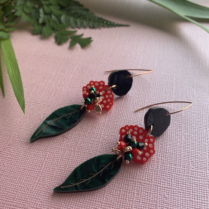 Red Gum Blossom Earrings - On A String