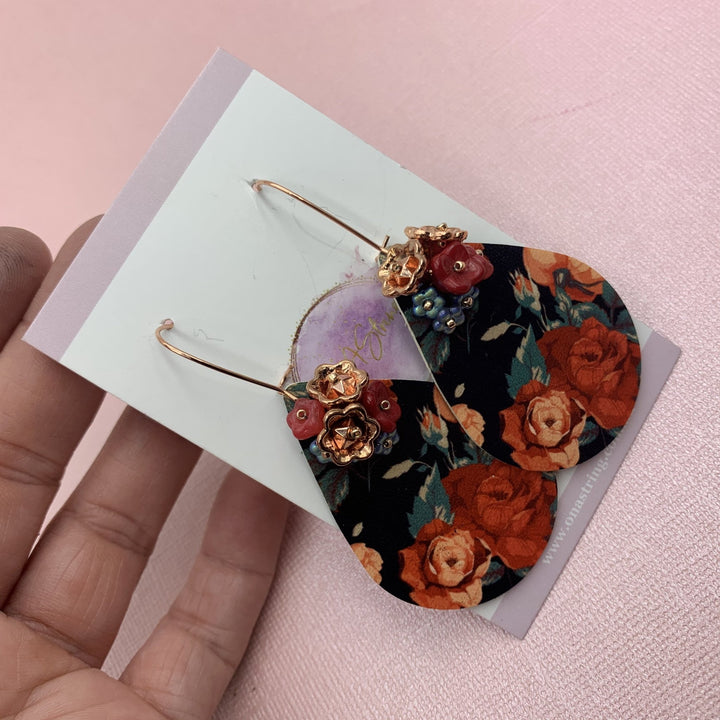 Rose Gold Roses Earrings - On A String