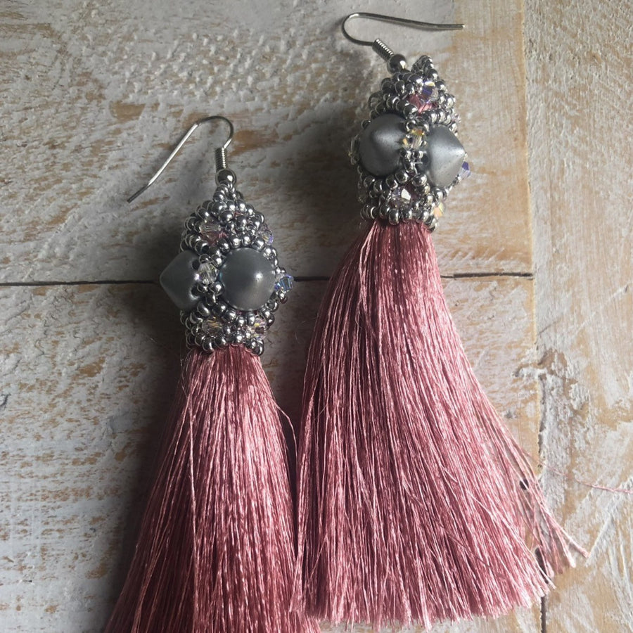 Silver and Blush Pink Tassel Earrings - On A String