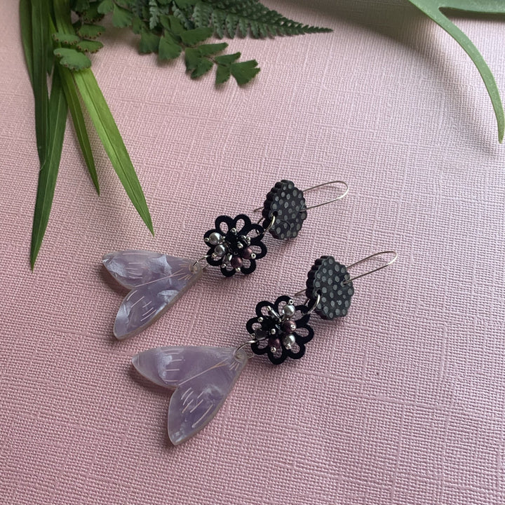 Silver Moth Earrings - On A String