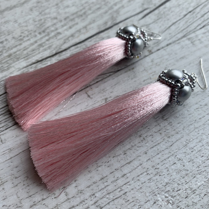 Silver & Pink Tassel Earrings - On A String