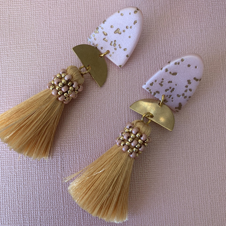 Speckled Pink Clay Tassel Earrings - On A String