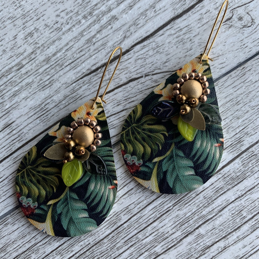Tropical Leaf Earrings - On A String