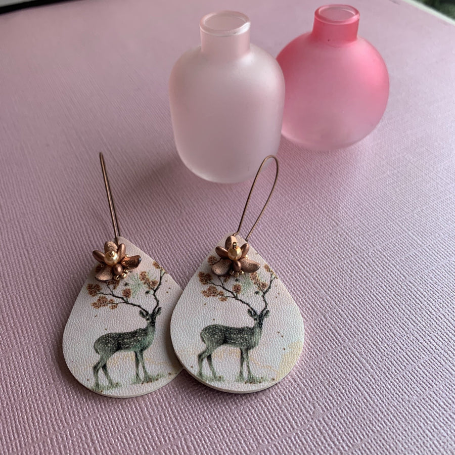 Vintage Deer Earrings - On A String