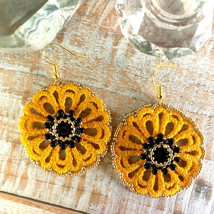 Yellow Lace Earrings with Sunflower Centre - On A String