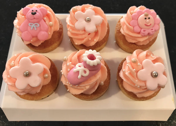 Babyshower/Dop cupcakes, Rosa