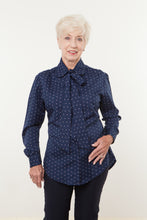 Load image into Gallery viewer, Navy Print Blouse With Attached Bow