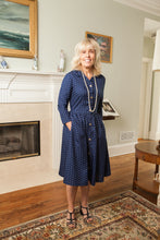 Load image into Gallery viewer, Navy Print Shirtwaist Dress