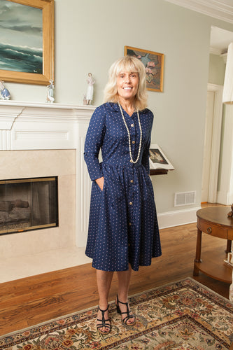 Navy Print Shirtwaist Dress