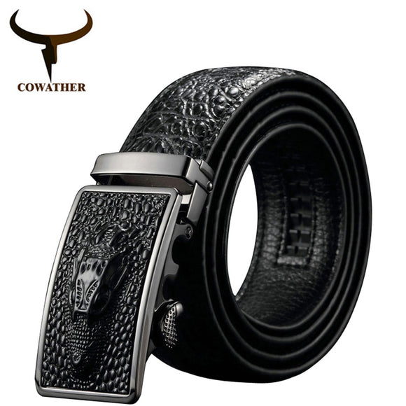 Leather alligator pattern belt