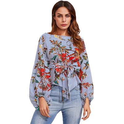 Exaggerated Lantern Sleeve Print Blouse