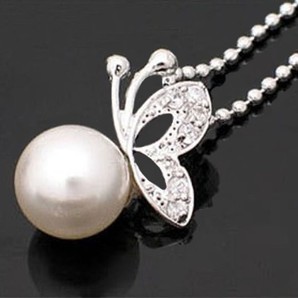 Diamonds Butterfly Beads White Pearl  Necklace