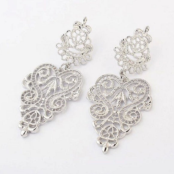 Bohemia Style Hollow Earring Stud Silver