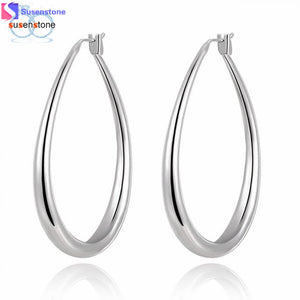 Women hoop Earings Eardrop Small Oval Rhombus Edge Gift