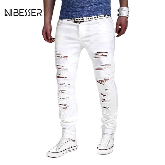 Men White Ripped Jeans
