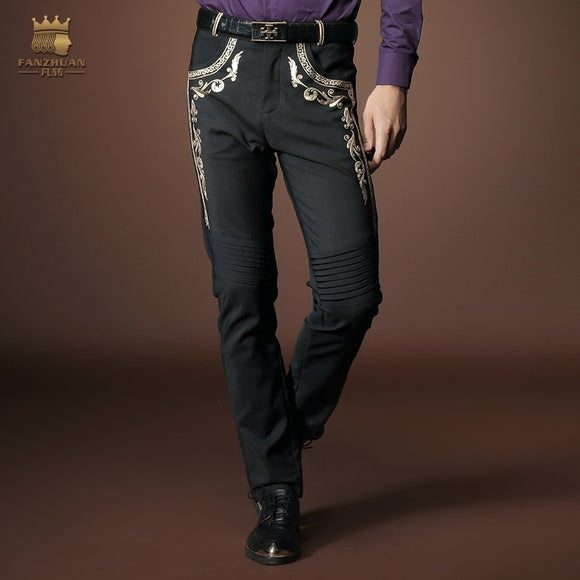 Men's embroidery jeans