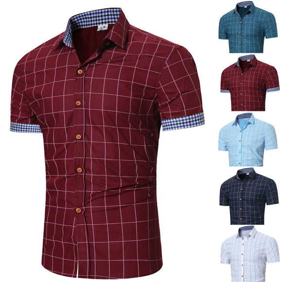 Men's Plaid Casual Short-sleeved Shirt