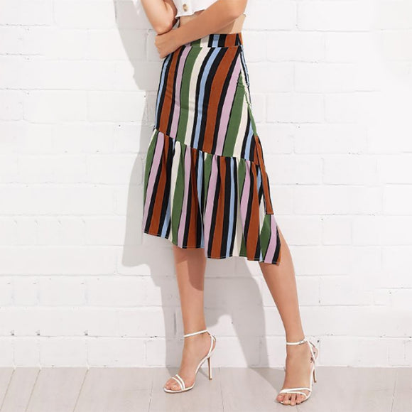 Women Striped Irregular Ruffle Skirt