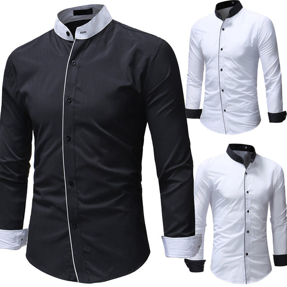 Men Long Sleeve Shirt 2018 Fashion Stand Collar Dress Shirt
