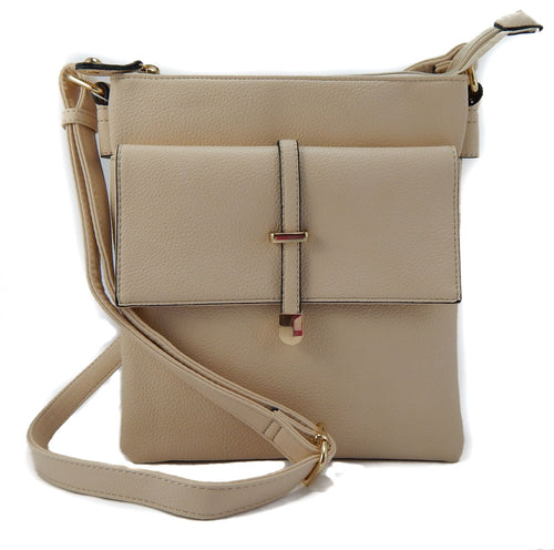 Crossbody Front Flap Bag with Adjustable Strap - Bone
