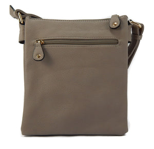 Crossbody Front Flap Bag with Adjustable Strap - Grey/Taupe
