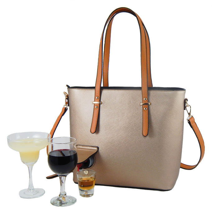 Loving Liquid Line Wine Purse - Black/Bronze