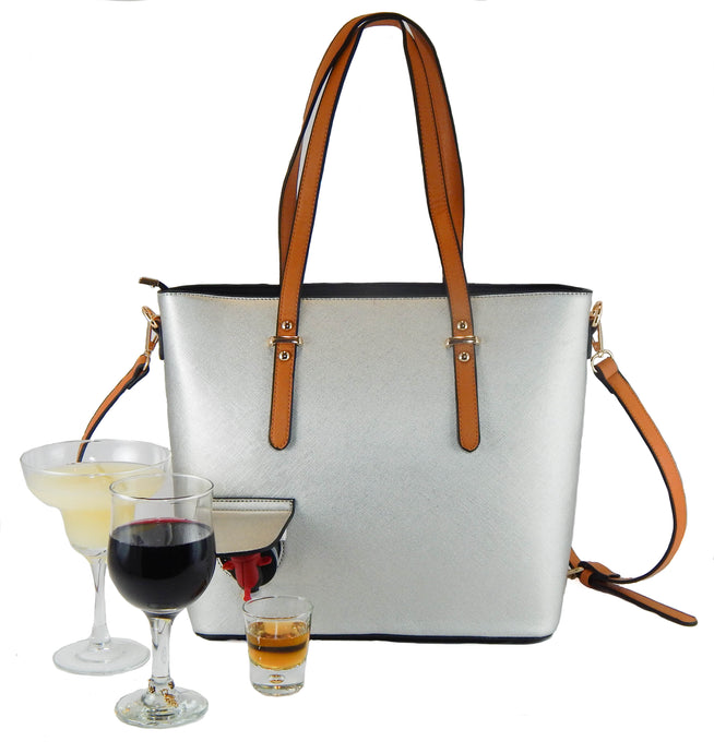 Loving Liquid Line Wine Purse - Black/Silver