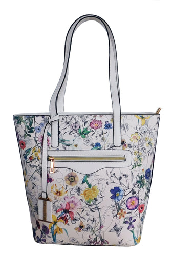 Everly Floral Tote with Tassel Decor (Multicolor)
