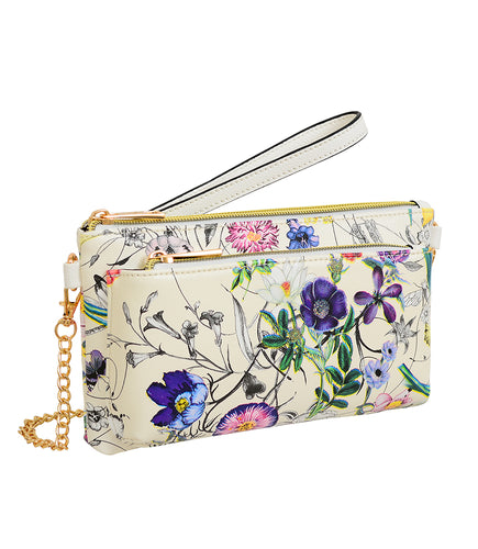 Evie Floral Wristlet with Front Zip Pocket (Available in black or white floral)