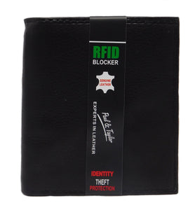 Paul & Taylor RFID Protected Black Hipster Leather Wallet 51225 - Black