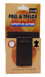 Paul & Taylor RFID Protected Magnet Money Clip Bifold Leather Wallet - (Black or Brown)