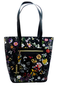 Everly Floral Tote with Tassel Decor (Black)