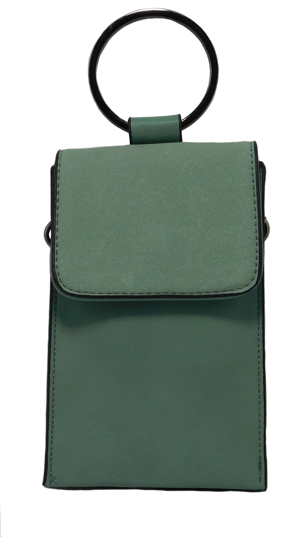 Kaylee top handle cellphone pouch with ring handle (Seafoam)