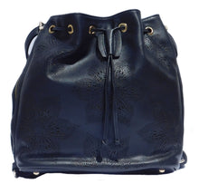 Adrian Perforated Floral Convertible Bucket Bag (Black)