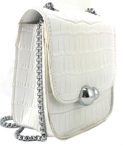 To Go Go Fashion Snakeskin Embossed Crossbody/Shoulder Cell Phone Mini-Purse (White)