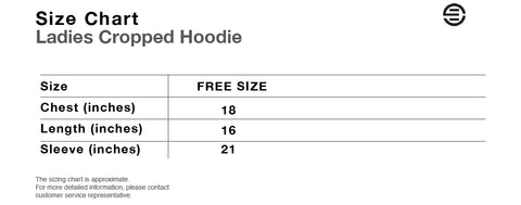 Eversince Ladies Copped Hoodie Size Chart